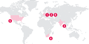 Map of the world, showing the locations where the organisation's events will be held.